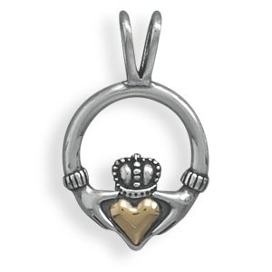 Sterling Silver and 14 Karat Gold Claddagh(73769)