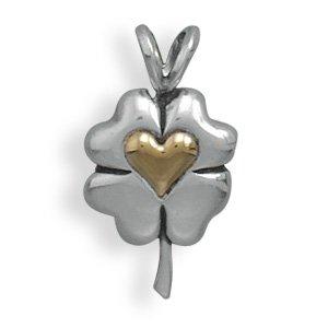 14 Karat Gold Clover with Heart Pendant(73770)