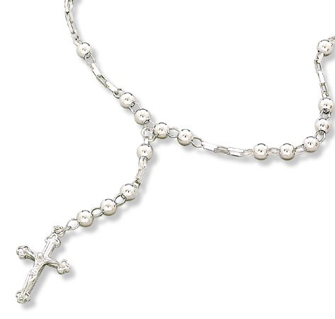 "16"" Sterling Silver Rosary Necklace(9566)"
