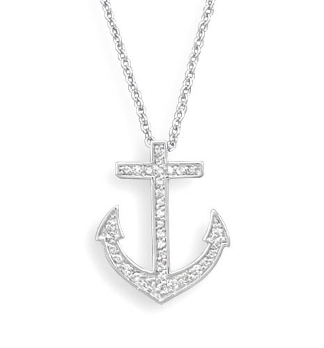"18"" Rhodium Plated CZ Anchor Necklace(33129)"