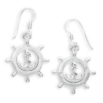 Nautical Ship's Wheel French Wire Earrings(64351)
