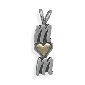 "Sterling Silver and 14 Karat Gold ""MOM"" Pendant(73813)"