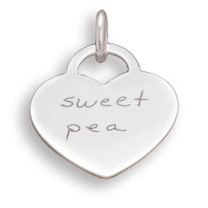 """Heart Pendant with """"sweet pea""""(73797)"""