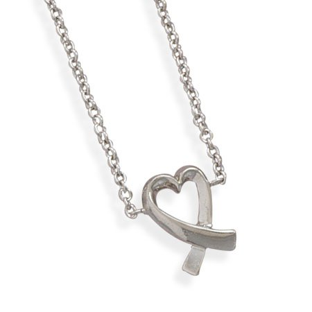 Necklace with Overlap Heart(33285)