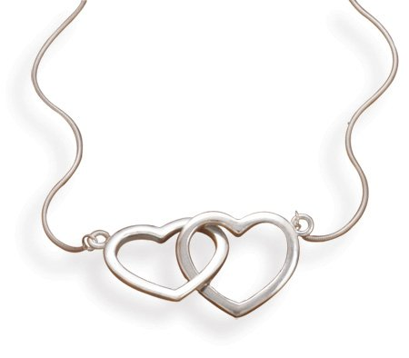 "17"" Rhodium Plated Linked Heart Necklace(33286)"