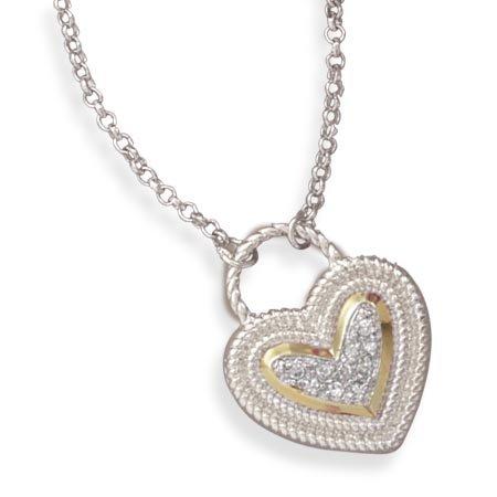 Two Tone Heart Shape CZ Necklace(33236)