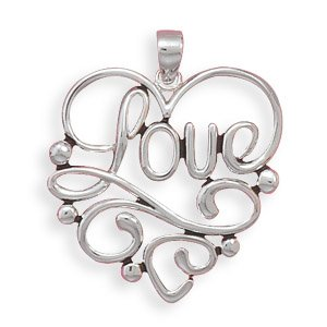 """Heart with """"Love"""" Cut Out Pendant(73459)"""