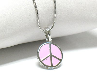 Enamel peace mark necklace(R1222PK-3931)