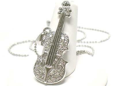 Crystal violin pendant necklace(E1237SL-112441)