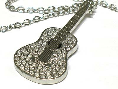 Crystal guitar pendant necklace(U1277SL-42889)