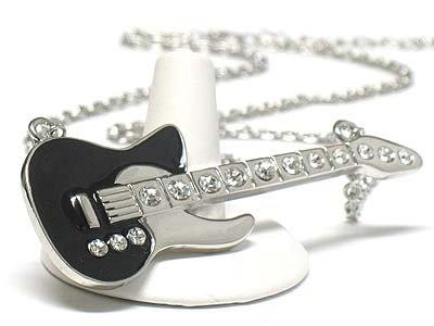 Enameled metal large guitar necklace(J1241BK-41355)
