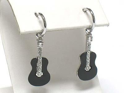 Guitar earrings(R965BK-43017)