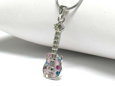 Crystal stud enamel guitar necklace(R1243PP-42488)