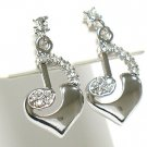 Music note heart drop earring(R941SL-61208)