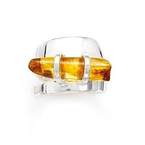 Sideways Baltic Amber Cylinder Polished Ring(82303)