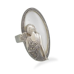 Shell Ring with Marcasite Woman Design(82821)