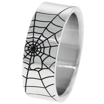 Spider Web Laser Inlay Men's Stainless Steel Ring(SR-SPI)