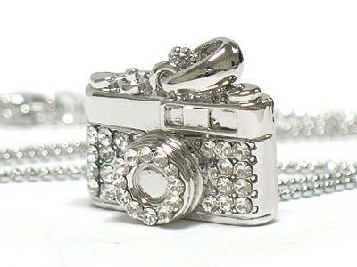 Crystal camera necklace(E1244SL-12149)