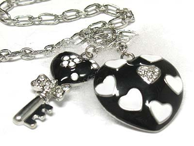 Heart and key drop necklace(N1261BK-111907)
