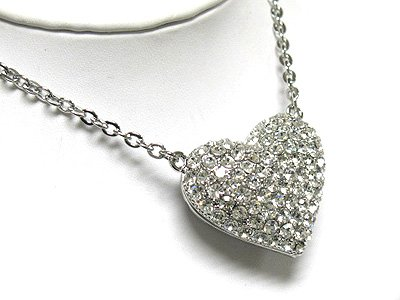 Crystal large puffy heart pendant necklace(L1261SL-220127)