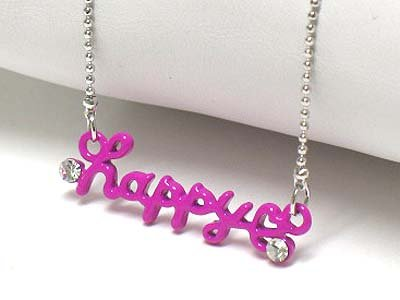 Crystal stud happy necklace(E1239PP-61213)