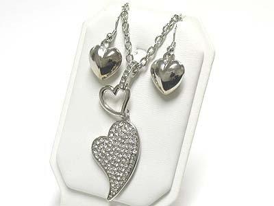 Crystal heart long necklace set( N1253SL-612125)