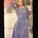 Vintage Butterick 3543 Round Neck Dress Pattern  Elastic Waist Long Sleeve