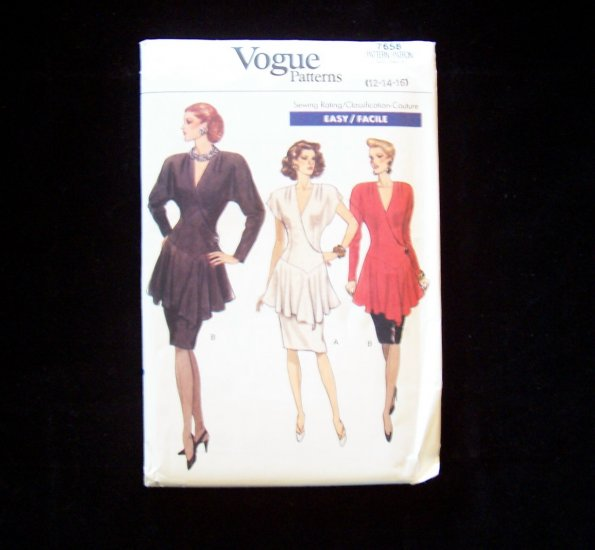 Retro 80�s Vogue 7658 Cocktail Top and Skirt Pattern Mock Wrap Peplum Straight Skirt