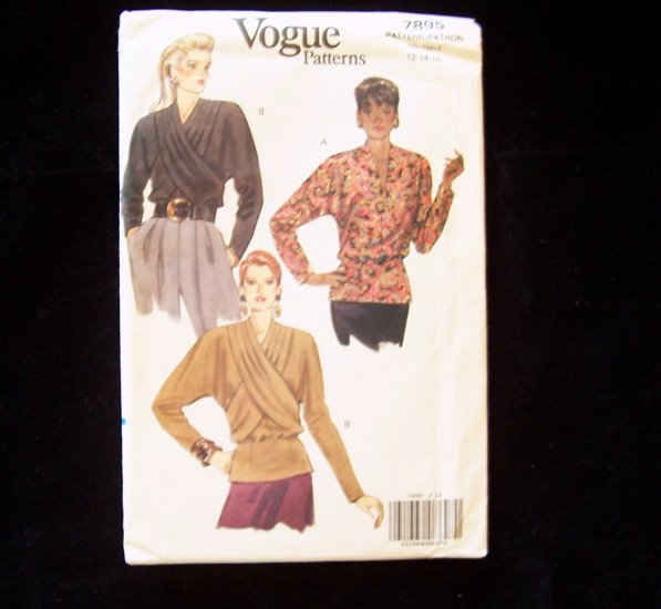 Vogue  7895 Peplum Top Pattern Mock Wrap Front Blouse Uncut Size 12-16