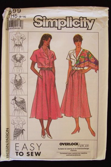 Simplicity 9199 Skirt Blouse and Scarf Pattern Short Sleeve Notched Collar Full Skirt