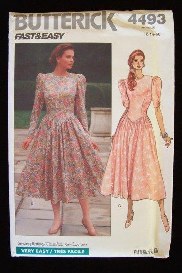 Vintage 80�s Butterick  4493 Dress Pattern Dropped Waist Full Skirt Round Neck Uncut
