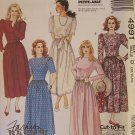 McCall's  4991 Party Cocktail Dress Pattern Round Neck Full Skirt Cut To Fit