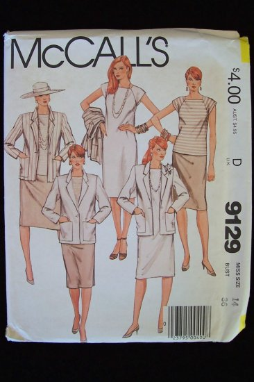 Vintage 80�s McCall�s  9129 Jacket Dress or Top and Skirt Pattern Raglan Sleeves Square Neck