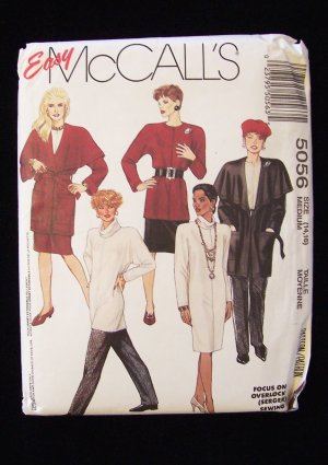 McCall�s 5056 Retro Wrap Jacket Chemise Dress Cowl Top Skirt and Pants Pattern
