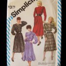 Simplicity  6169 Retro 80's Long Sleeve Flange Front Dress Pattern Full Skirt Uncut
