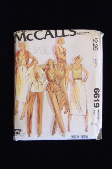 McCall�s Basile 6619 70�s Notched Collar Jacket Skirt Pants Tank Top Pattern Size 12