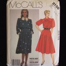 McCall's  2158 Vintage 80's Dress Sewing Pattern Long Sleeve Collar Full Skirt Uncut