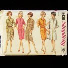 Simplicity  6439 Vintage 60's Coat Dress Pattern Mandarin Collar Button Front