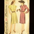 Vintage 40's Simplicity 1526 Button Front Dress Pattern Inverted Pleats Bishop Sleeves