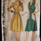 Vintage Simplicity No 4294 1940's Button Front Flared Skirt Day Dress Pattern