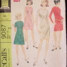 Vintage 60s McCall's 9087 Slim A-line Mini Dress Pattern Long Short or Sleeveless Size 14 Bust 36