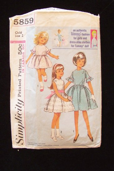 Vintage 60s Simplicity 5859 Girls Tammy Fashion Party Dress Pattern With Matching Doll Clothes