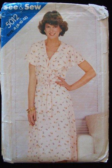 Vintage 70s Butterick See and Sew 5012 Flounce V-Neckline Summer Dress Pattern Uncut