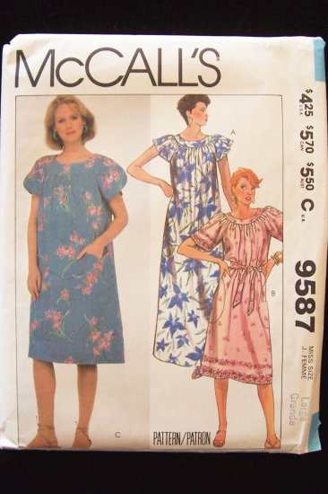 Retro 80s McCall�s  9587 Yoked Front Raglan Sleeve Dress Pattern Uncut Size Large
