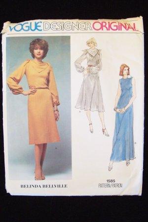 Vogue1585 Belinda Bellville Evening Cocktail Dress Pattern Designer Original Uncut