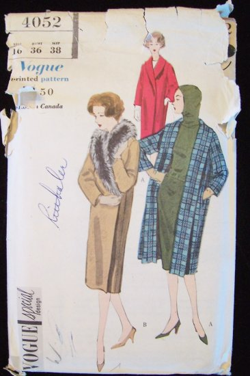Vintage 50s Vogue Special Design  4052 Shawl Collar Winter  Coat Pattern Uncut Size 16