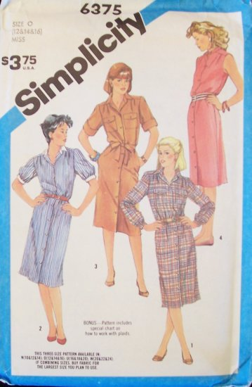Retro 80s Simplicity 6375 Shirtwaist Dress Pattern Button Front Sleeveless Uncut Size 12-16