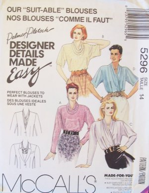 McCall�s  5296 Blouse Pattern Wrap Front Cowl Collar and Draped Style Uncut Size 14