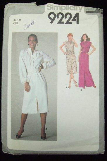 Vintage 70s Simplicity  9224 Pleated Neckline Long Evening Dress Pattern Button Front Uncut