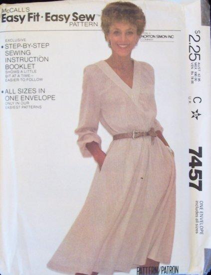 Retro 80s McCall�s 7457 V-Neckline Loose Fit Dress Pattern Flared Skirt Uncut Multi Size